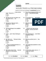 Esl Topics Quiz Possessive Adj Pronouns