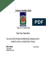 Medicine Buddha Reiki Certificate