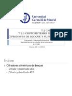 CSI1213-Es Cifradores Bloque y Flujo Sesiones2y3 DES AES