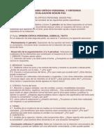 Modelo de Comentario Crítico Personal y Criterios Generales de Evaluación Según Pau