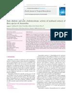 2) AntiGÇôdiabetic and AntiGÇôcholesterolemic Activity of Methanol Extracts of Three Species of Amaranthus