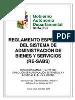 Reglamento Específico Del Sistema de Administración de Bienes y Servicios RE-SABS (RG Nro. 290-2011)