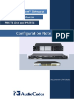 LTRT-39261 Mediant Gateways With PBX T1 and PAETEC SIP Trunk Configuration Note
