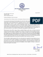Letter proposing chicken ordinance in Salem, Mass.