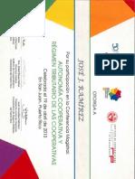 Certificado Conferencia Dante Cracogna 2013 - JJ Ramírez