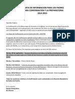 CARTA DE INFORMACION PARA LOS PADRES PARA CONFIRMACION Y LA PREPARATORIA 2014-2015