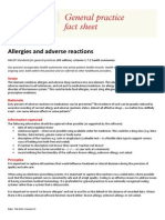 Fact Sheet Allergies and Adverse Reactions