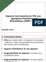 Armindo Tomo - Ppt Do Estudo Do Impacto Distributivo Das Isenções Do IVA Nas Famílias Em Mocambique 2013