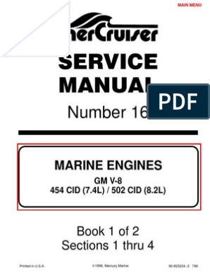 7.4L 454 Mercruiser Manual | Gasoline | Internal Combustion ...  Mpi Wiring Harness on