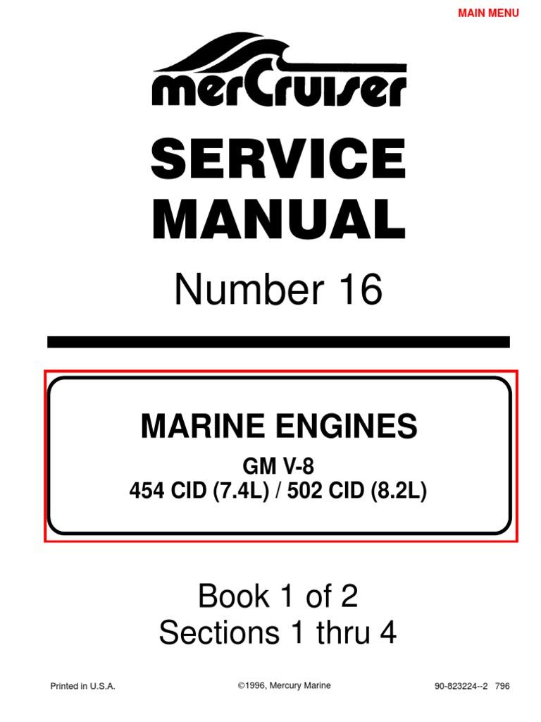 7 4l 454 mercruiser manual gasoline internal combustion engine rh scribd com Mercruiser Sterndrive 3.0 Mercruiser Short Block