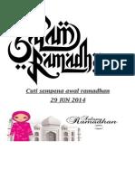 Cuti Sempena Awal Ramadhan