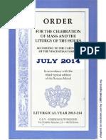 ORDO 2013/2014 Order for celebrations in July