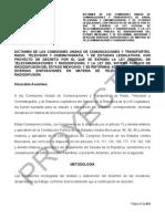 Proyecto de dictamen de la Ley Federal de Telecomunicaciones y Radiodifusión.