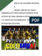 Hay Júbilo Inmortal en Colombia Nuestra