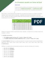 Problemas de IO Resuelto Con Solver de Excel