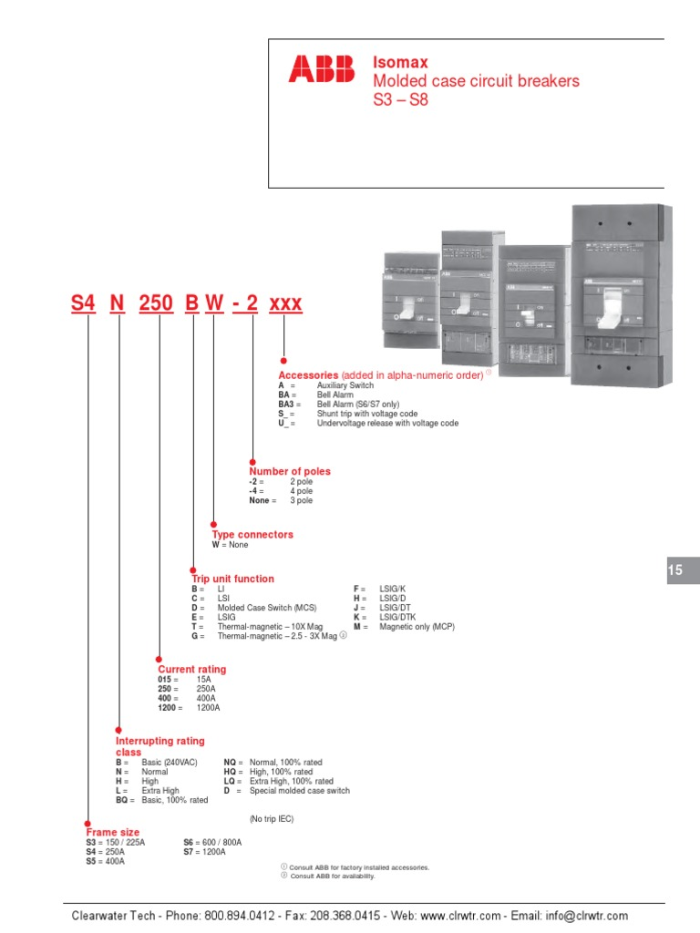 Abb Uv Trip Wiring Diagram Auto Today Ach550 Isomax S3 S8 Circuit Breaker Datasheet Fuse Electrical Rh Scribd Com Tracker Pro 175 Diagrams Vfd