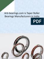 Arb Bearings Com is Taper Roller Bearings Manufacturers in India