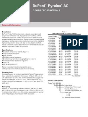 Flex PCB - Pyralux Datasheet   Printed Circuit Board   Materials