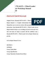 Hyundai HL770 (#1171- ) Wheel Loader Service Repair Workshop Manual DOWNLOAD