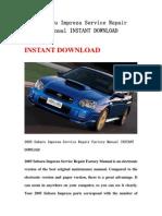 2005 Subaru Impreza Service Repair Factory Manual INSTANT DOWNLOAD