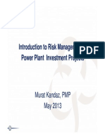 Introduction to Risk Management in Power Plant Investment Projects