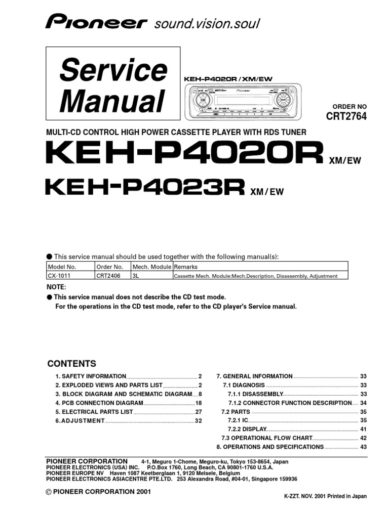 Pioneer Keh-p4020r_p4023r | Power Supply | Compact Cassette