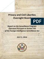 Privacy and Civil Liberties Oversight Board Report on NSA Internet Surveillance