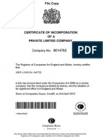 Uber London Limited - Certificate of Incorporation