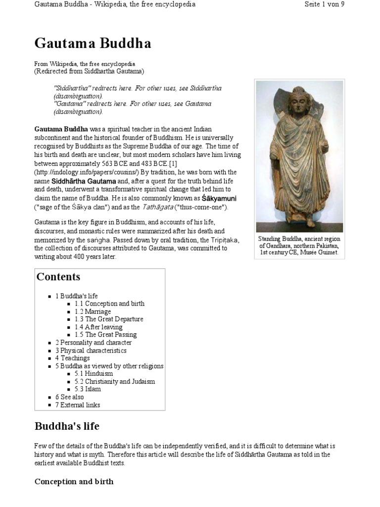 Gautama Buddha Wikipedia The Free Encyclopedia Gautama Buddha