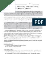 grade 9 summer reading dialectical journal handout 2014