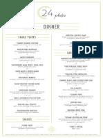 24 Plates Wine and Food Menu