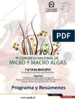 IX Congreso Nacional de Micro y Macro Alga