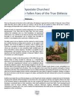 apostate churches - identifying the fallen foes of the true ekklesia