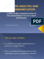 Written Analysis and Communication, LETTER WRITING