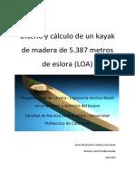 Diseño y Cálculo de Un Kayak de Madera de 5.387 Metros de Eslora (LOA)