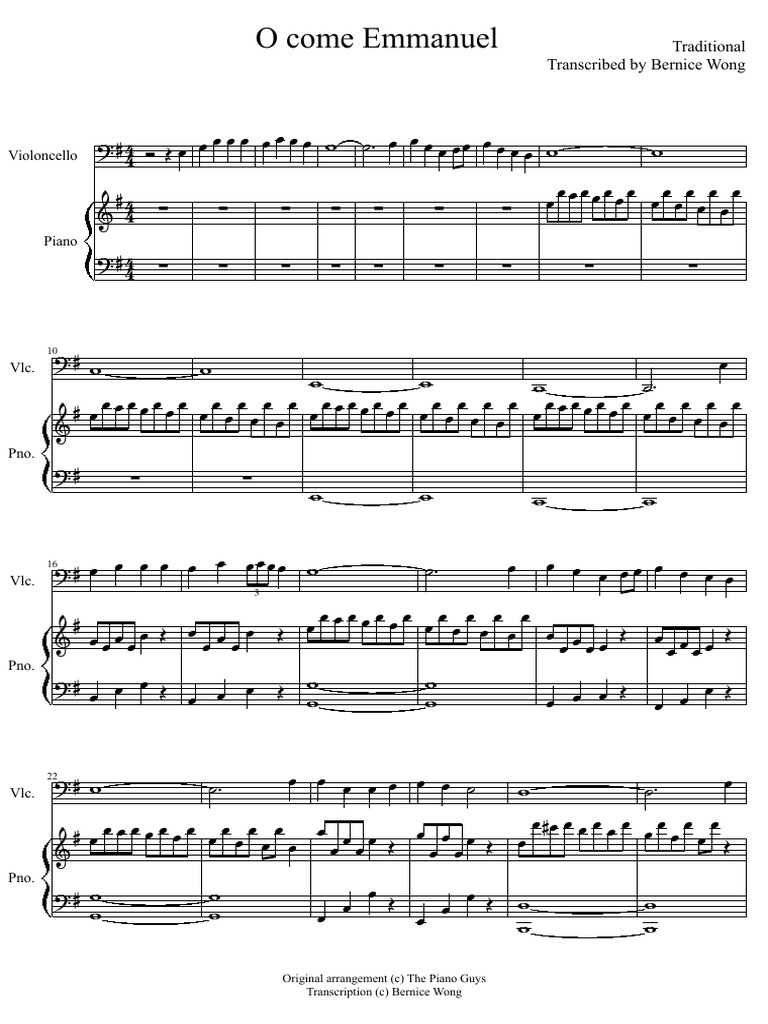 o come o come emmanuel piano guys sheet music pdf