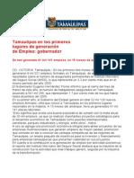com0706, 300406 Tamaulipas en los primeros lugares de generación de empleo