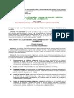 Reglamento de La Ley General Para La Prevención y Gestión Integral de Los Residuos.