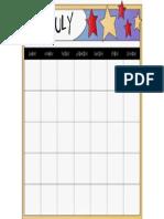 July Blank Calendar Printable.