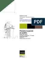 S1 Decouverte Prendre La Parole en Public Notes de Cours 2013-2014x