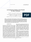 An Econometric Estimate of the Demand for Mba Enrollment