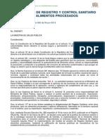 Reglamento de Registro y Control Sanitario de Alimentos Procesados