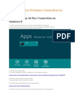 Create Ad Hoc Wireless Connection in Windows 8