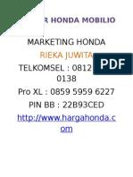 Brosur Honda Mobilio Rs
