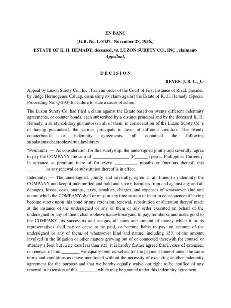 Art 774 1 Estate Of Hemady Vs Luzon Guarantee Surety Bond