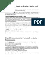 Why Digital Communication Prefereed to Analog