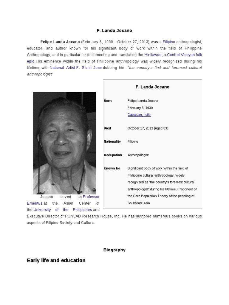 F Landa Jocano Museology Cultural Education