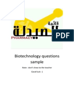 Biotechnology Questions Sample