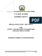 025 PRE-QUALIFICATION   DOCUMENT FOR SUPPLY AND DELIVERY OF HARDWARE AND ELECTRICAL ITEMS