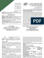 Boletín Del Segundo Domingo de Pentecostés English 22062014 Ciclo A